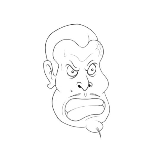 May 7, 2013 - A cartoon of one angry dude. Yes, that's his chin.