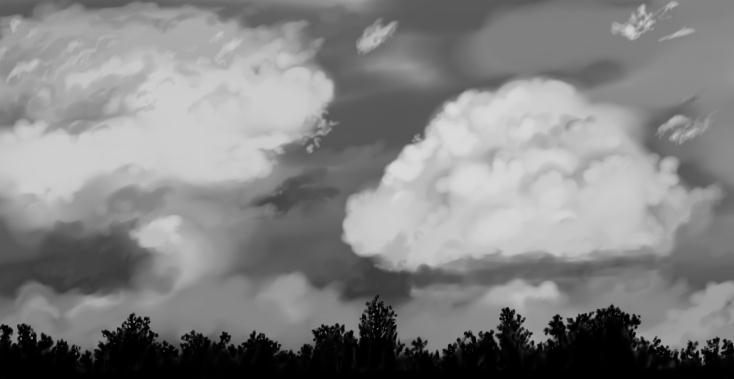 June 12, 2013 - Just a black and white digital painting of clouds.