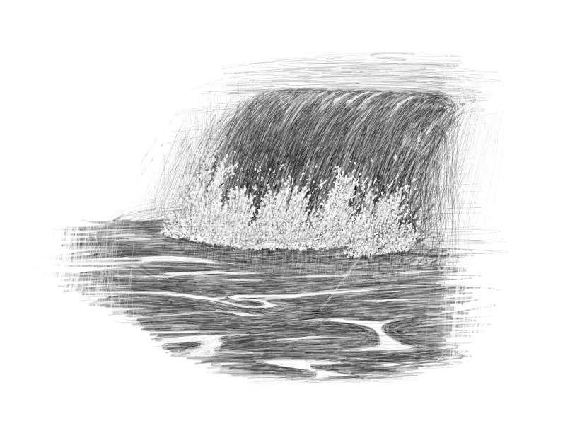 April 22, 2013 - Big waves on the beach today inspired this crashing wave drawing. Jarring really, but another day of daily drawing complete!