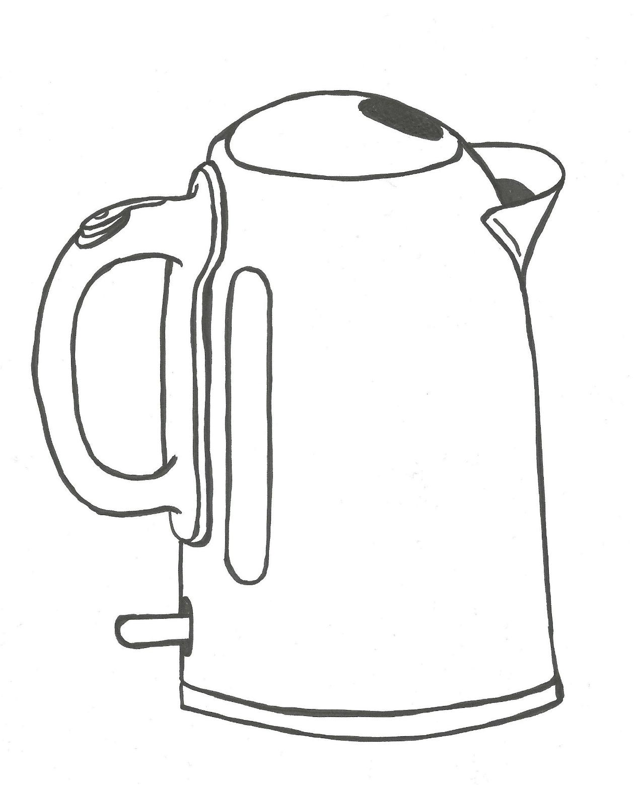 June 20, 2013 - Today's challenge was to draw something from the kitchen without erasing in any way, and thus, this kettle emerged.
