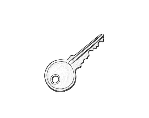 June 3, 2013 - It's another one of those days where all I can get myself to draw is lackluster, like this key.