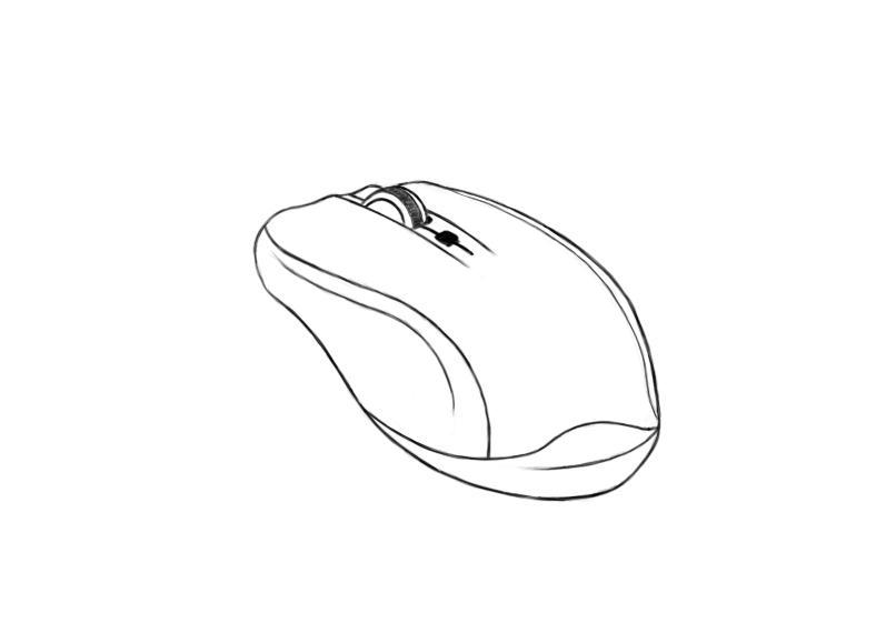 April 25, 2013 - A line drawing of my Logitech Mouse. Some perspective required.