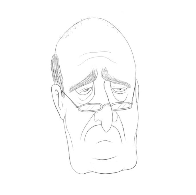 April 21, 2013 - The pouting sadness of an old man in cartoon form.