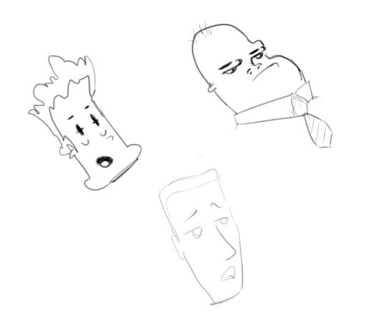 April 2, 2013 - A triumvirate of floating heads kicks things off on this daily drawing journey.