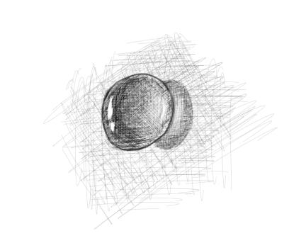 April 3, 2013 - A quick shadowing of a water drop rounds out my second daily drawing.
