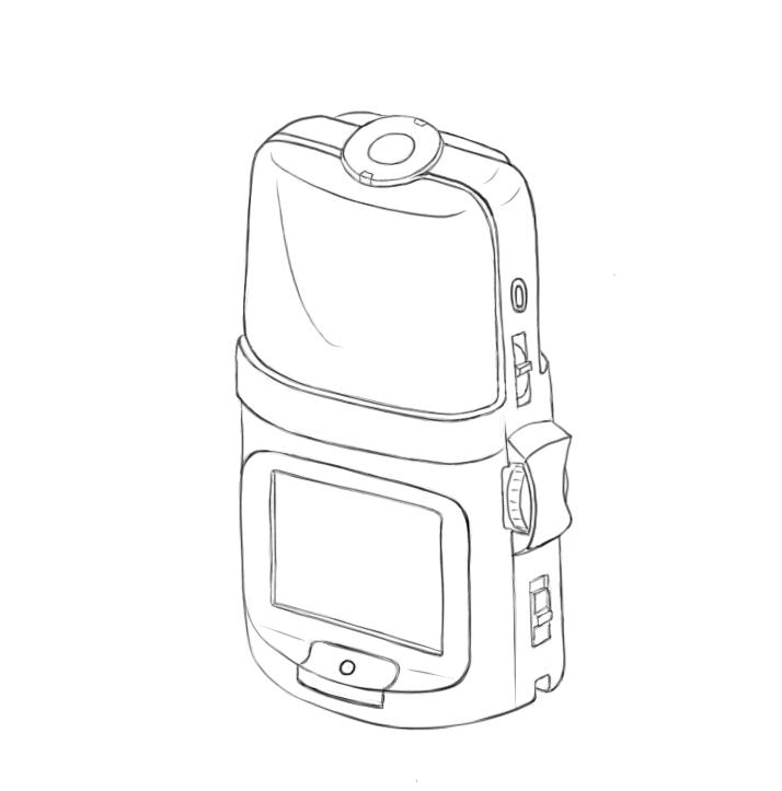 April 23, 2013 - Got tired of shading and rendering so here's a line drawing of the Zoom H2n audio recorder. That top part needs work but I have to move on.