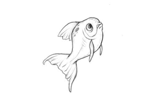 April 7, 2013 - Today's drawing is inspired by EddieHolly's deviantArt gold fish sketches.