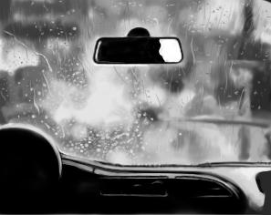June 2, 2013 - Inspired by lkopuz's photo 'point of promontory' over at DeviantArt, I drew this rainy car dash.