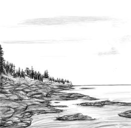 June 5, 2013 - This tiny landscape sketch is inspired by Ctrl+Paint's 'Tiny Study' video....minus the colour.